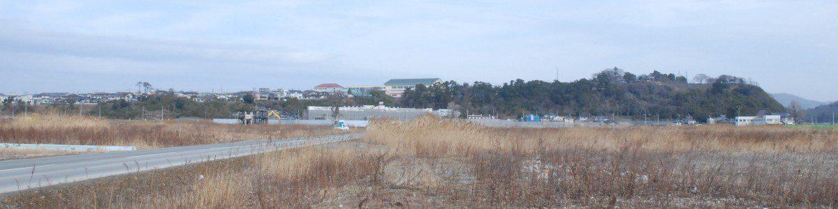 石巻市内で一番被害の大きかった門脇・南浜地区から日和山を望む。手前は更地にされた後荒れ放題に手つかずになっているかつての住宅地跡。向うに見えるのが火災になり、この春石巻小学校に統合された門脇小学校校舎。そして石巻のシンボル日和山。